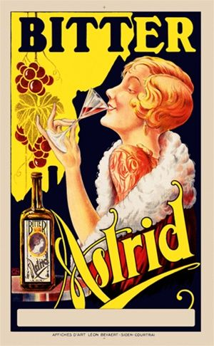 Bitter Astrid 1925 Belgium - Beautiful Vintage Poster Reproductions. This Belgian wine and spirits poster features a women in a fur wrap sipping a glass against a black and yellow background with grapes hanging. Giclee Advertising Print. Classic Posters