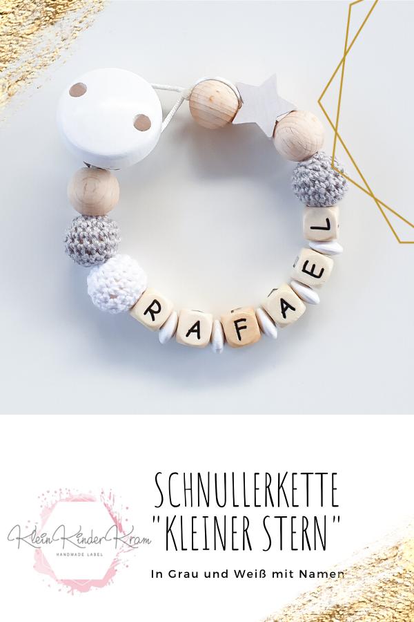 Schnullerkette mit Namen*Häkelperlen*Hellgrau Mint*Junge /& Mädchen*Baby*Geschenk