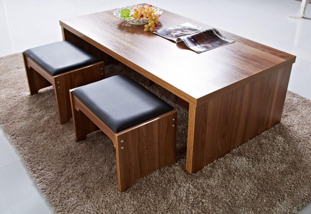 Coffee Table with Stools and Storage Coffee table with