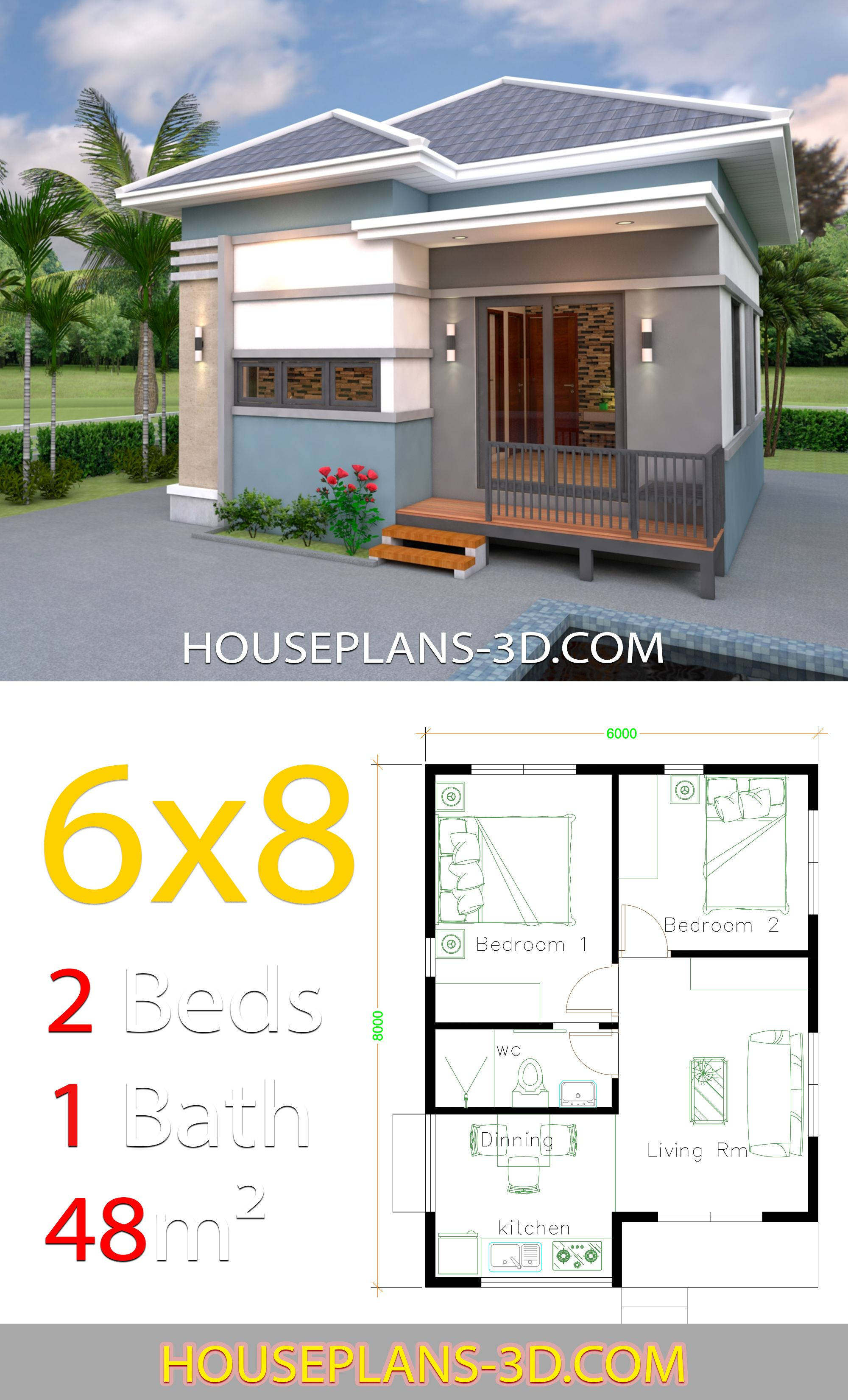 House Design 6x8 With 2 Bedrooms Hip Roof House Plans 3d Small House Design Plans Small House Exteriors House Plans