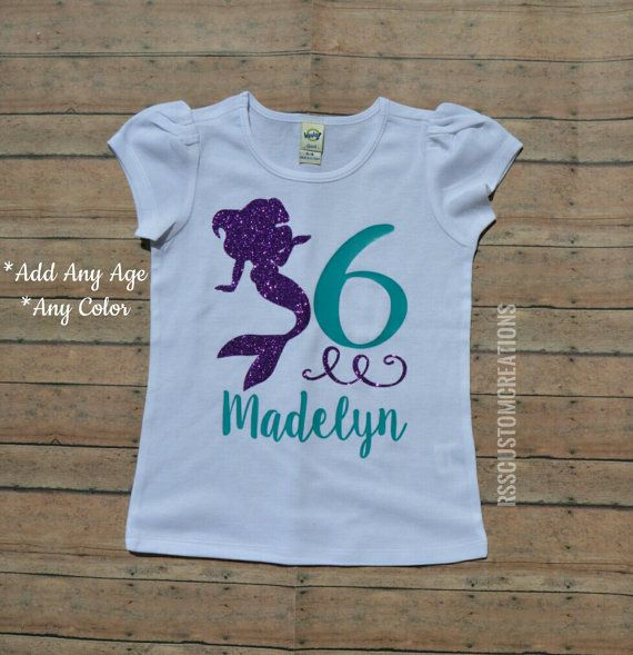 Mermaid Birthday Shirt Or Bodysuit You Can Add Any Age And Name If Desired This Outfit Be Customized To Your Choice Of Colors Just Leave It On Notes