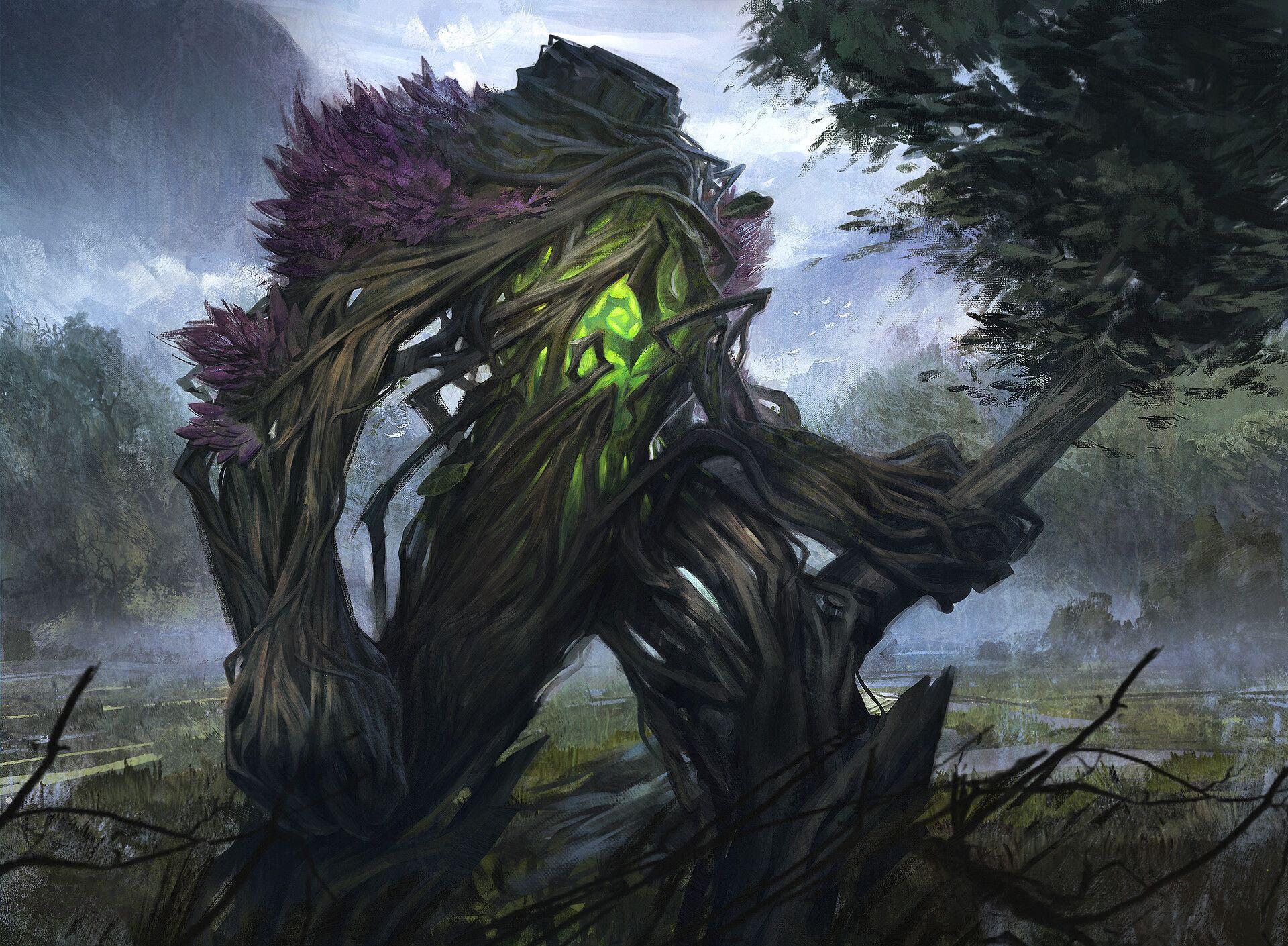 Artstation Golem Of The Forests Alisher Mirzoev Fantasy Monster Creature Concept Art Monster Concept Art
