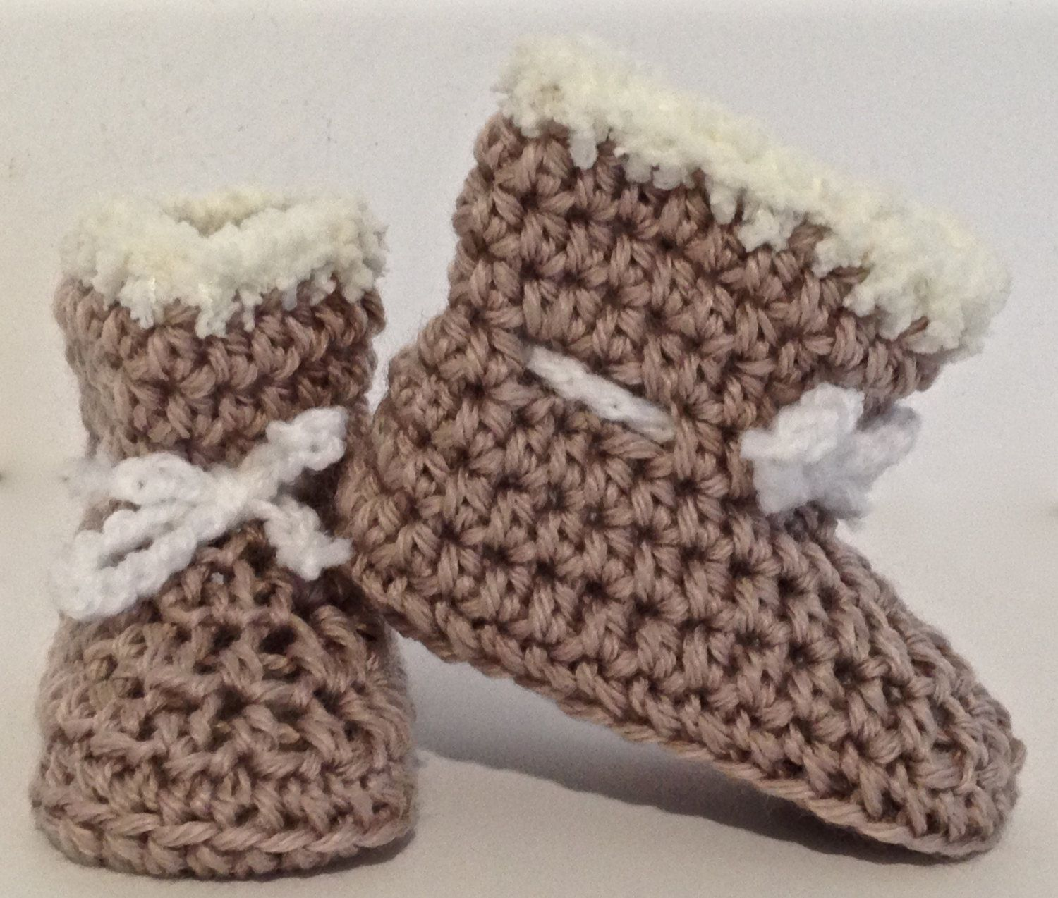 Crochet Brown and White Baby Uggs/Boots - Fits birth - 3 months by PreciousPossums