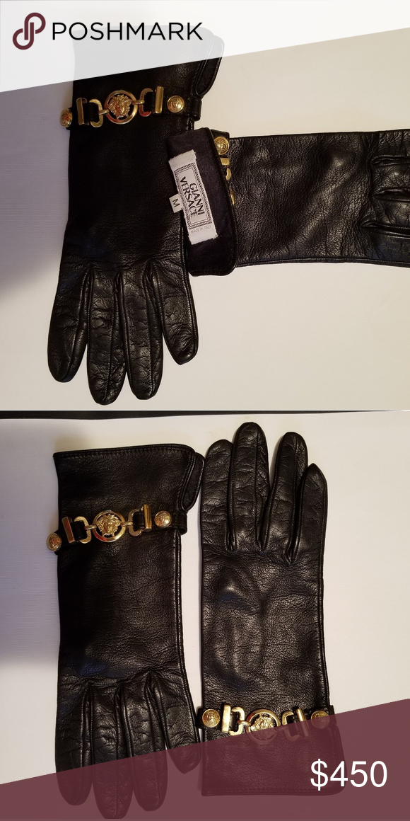 a1e13f846d Versace Leather Gloves Rare