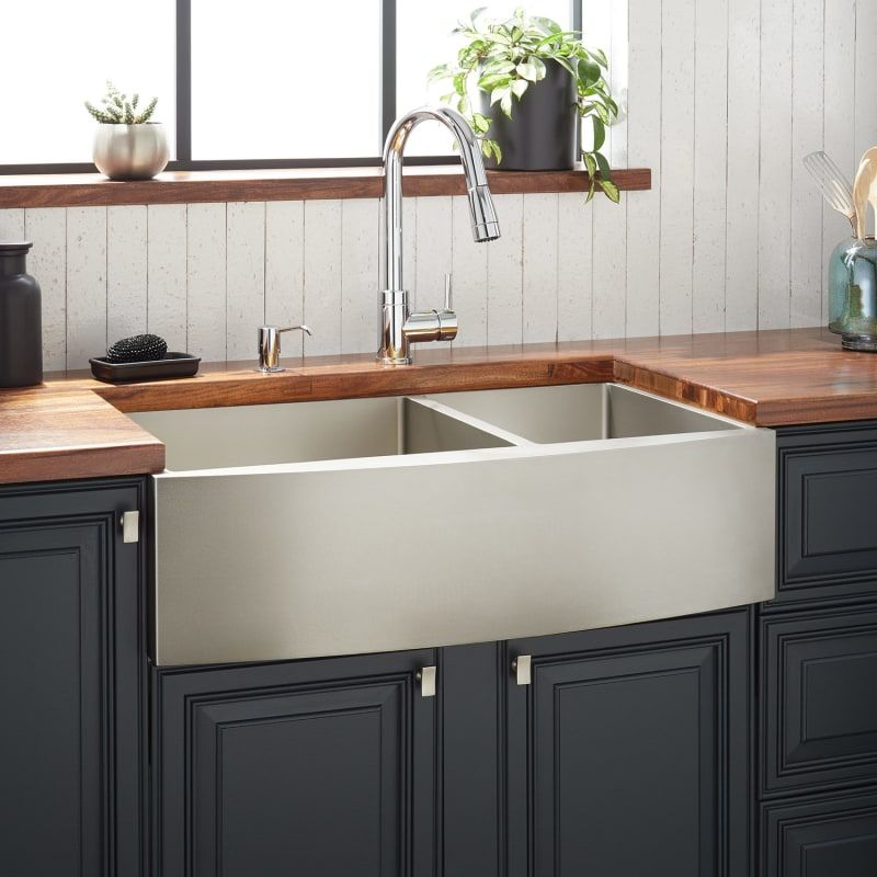 Signature Hardware 944665 36 Atlas 36 Farmhouse Double Basin Stainless Steel Ki Pewter Fixture Kitchen Sink Stainless Steel In 2020 Stainless Steel Farmhouse Sink Stainless Farmhouse Sink Stainless Steel Kitchen