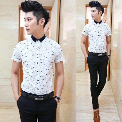 Mens Long Sleeve Dress Button Down Causal Shirt Fancy Floral Pattern Slim Fit E8