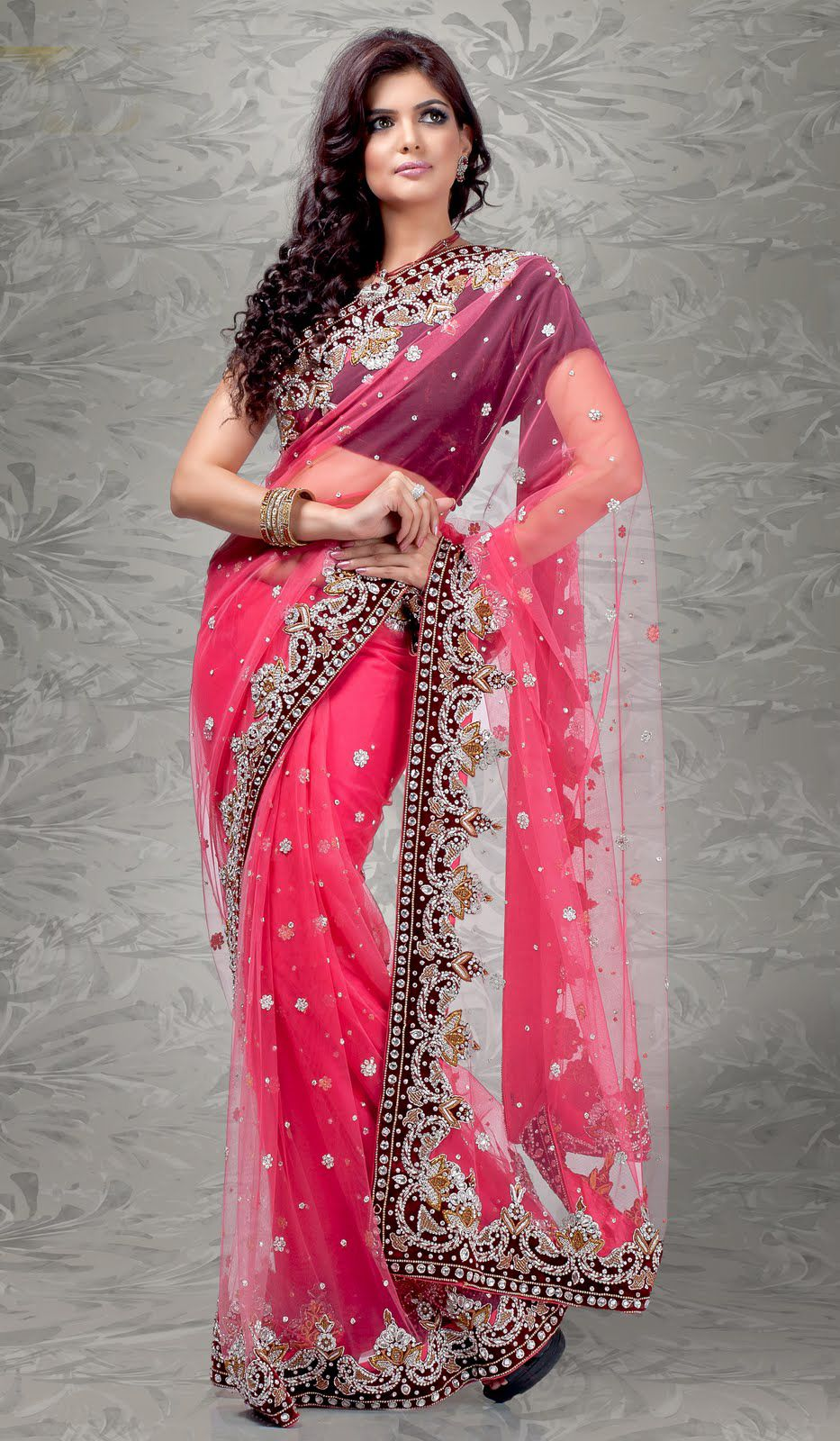 Amazing Pink Color Gloosy Netted #Designer #Saree | Designer Sarees ...