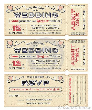 vector wedding invite tickets - Movie Ticket Wedding Invitations