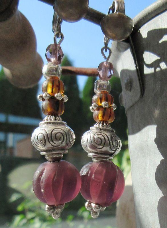 """Perles """"melon"""" Népal, perles argent, picasso ...."""