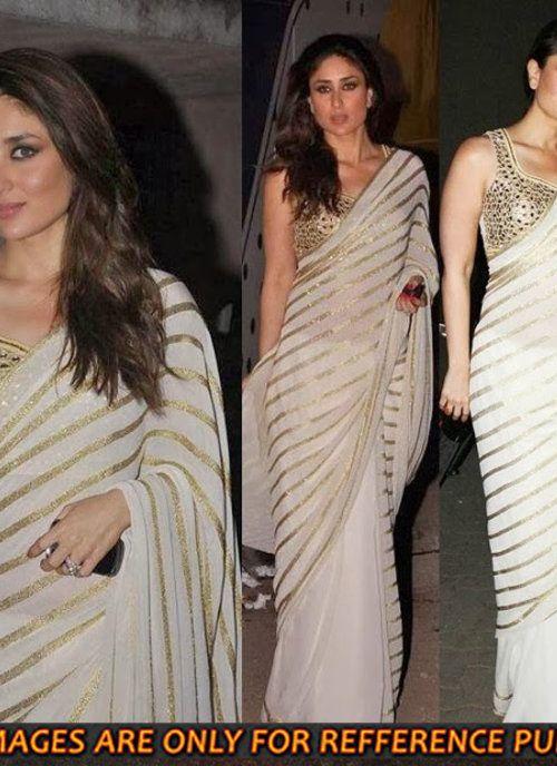 Bollywood Kareena Kapoor White Designer Saree | Bollywood ...