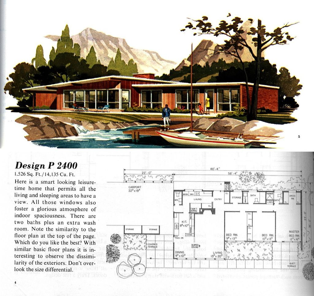 P2400 mid century modern architecture and mid century for Mid century floor plans