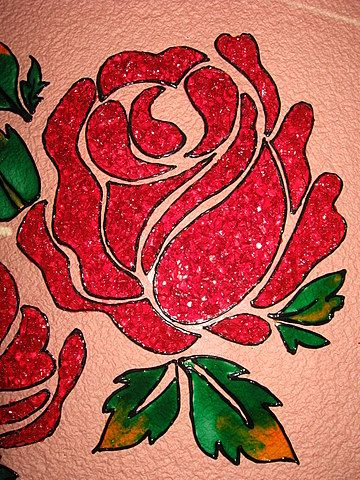 Simple paintings of flowers roses calligraphy for Easy glass painting designs