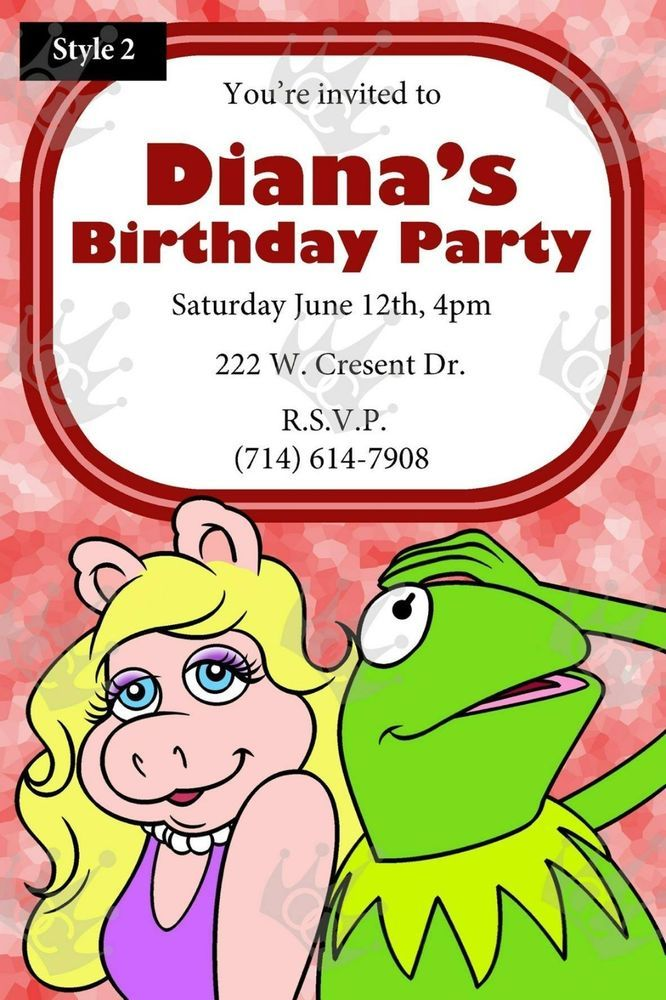 Muppet\'s Miss Piggy and Kermit Birthday Party Invites | Girl ...