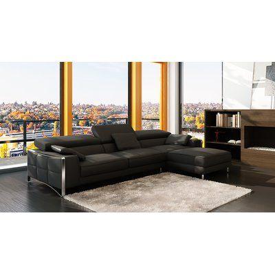 Hokku Designs Soho Sectional Upholstery Black Modern Leather