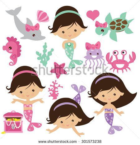 Mermaid vector illustration   Para tratar en illustrator   Pinterest ...