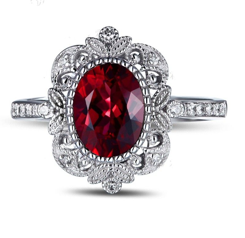 rings engagement vintage antique ruby ru halo ring diamond
