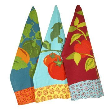 Amazon.com: Jardin Vegetables Cotton Kitchen Dishtowels, set of 3 (Tomatoes, Bell Peppers, Pumpkins & Gourds): Home & Kitchen