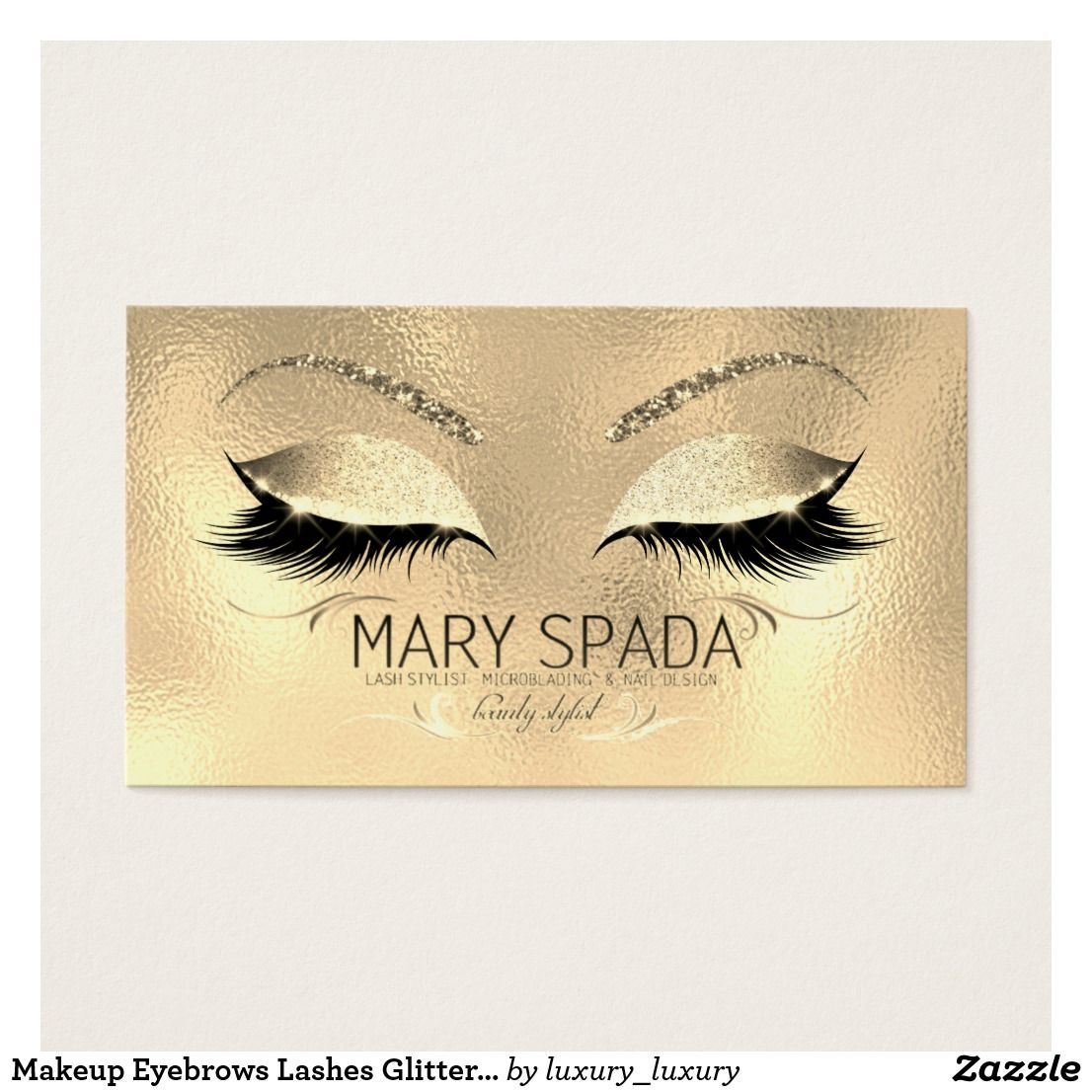 875ce78e78c Makeup Eyebrows Lashes Glitter Diamond Gold Name Business Card ...