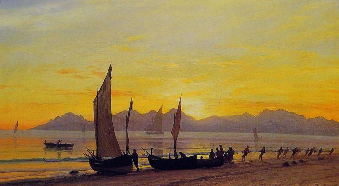 Boats Ashore at Sunset by Albert Bierstadt #art