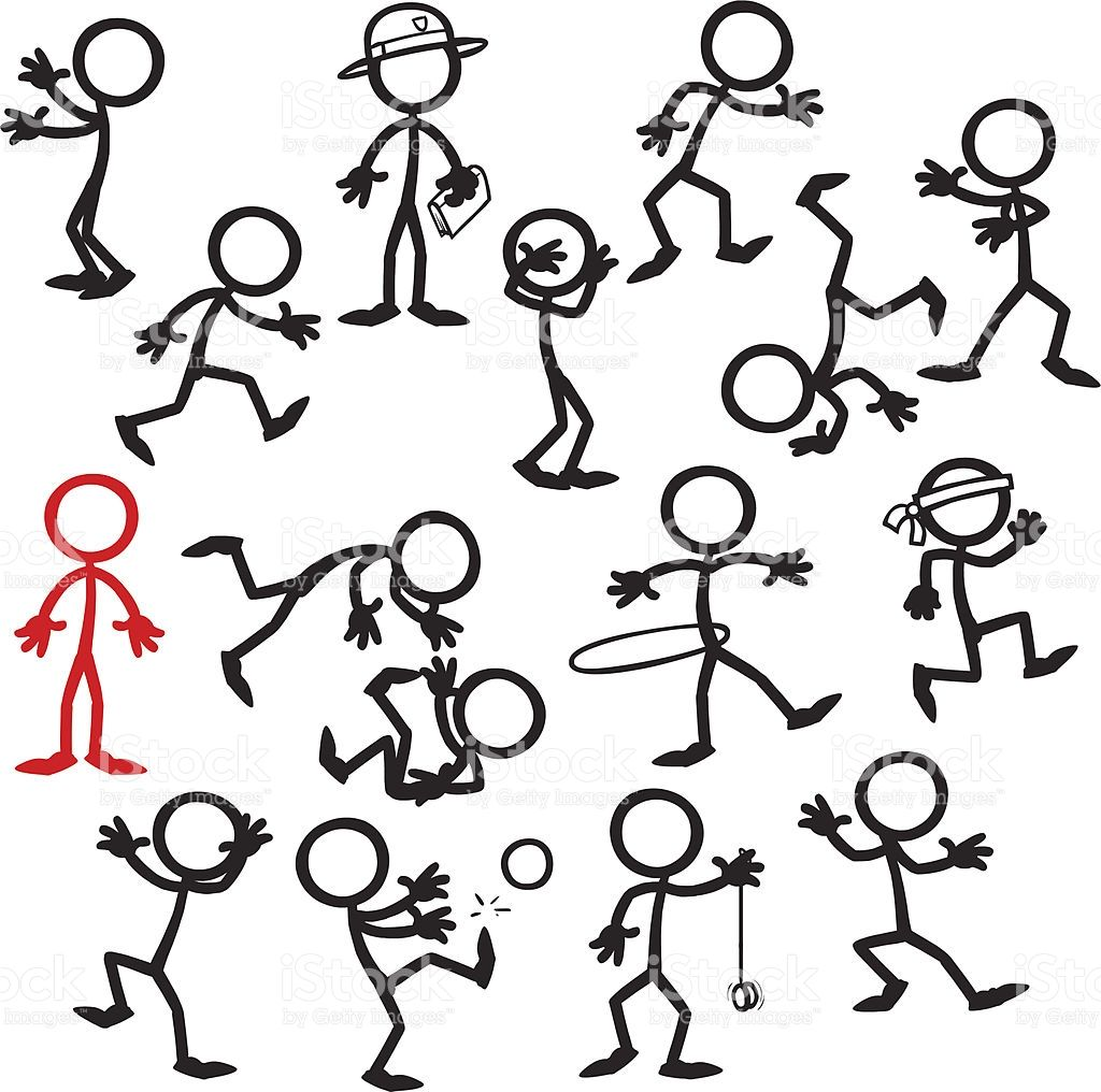 Stick Figure People Stand Out In A Crowd Vector