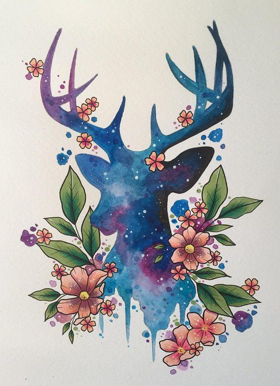 Galaxy stag art print tattoo print tattoo design stag painting deer art watercolour painting woodland decor tattoo art always