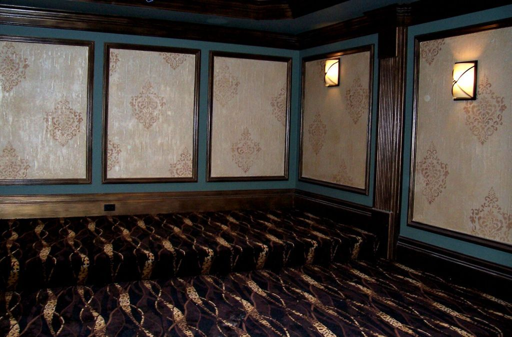 Home Theatre - Panels treated with Textured Lusterstone with Damask Design. Trim treated in Layered Metallics