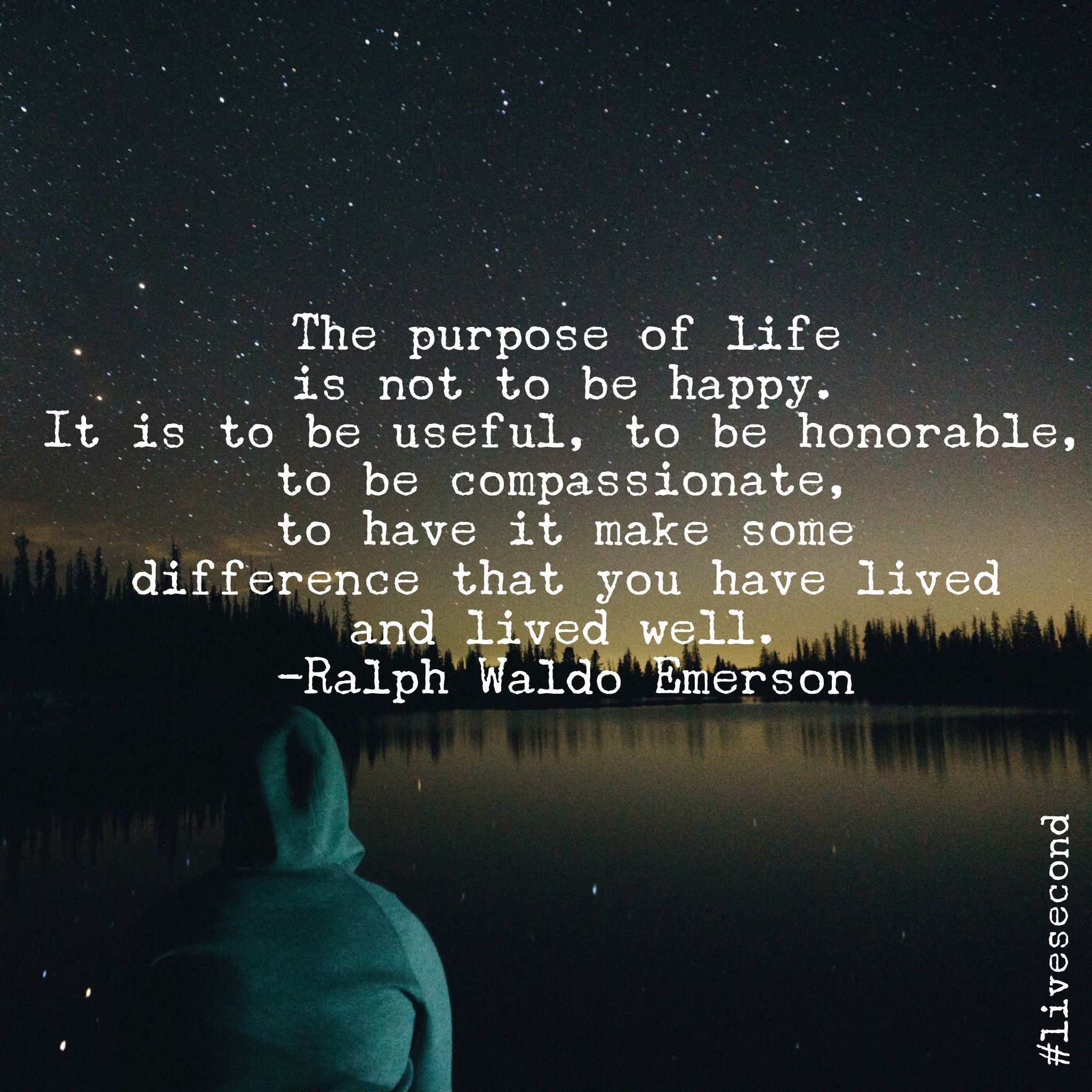 The purpose of life is not to be happy. It is to be useful