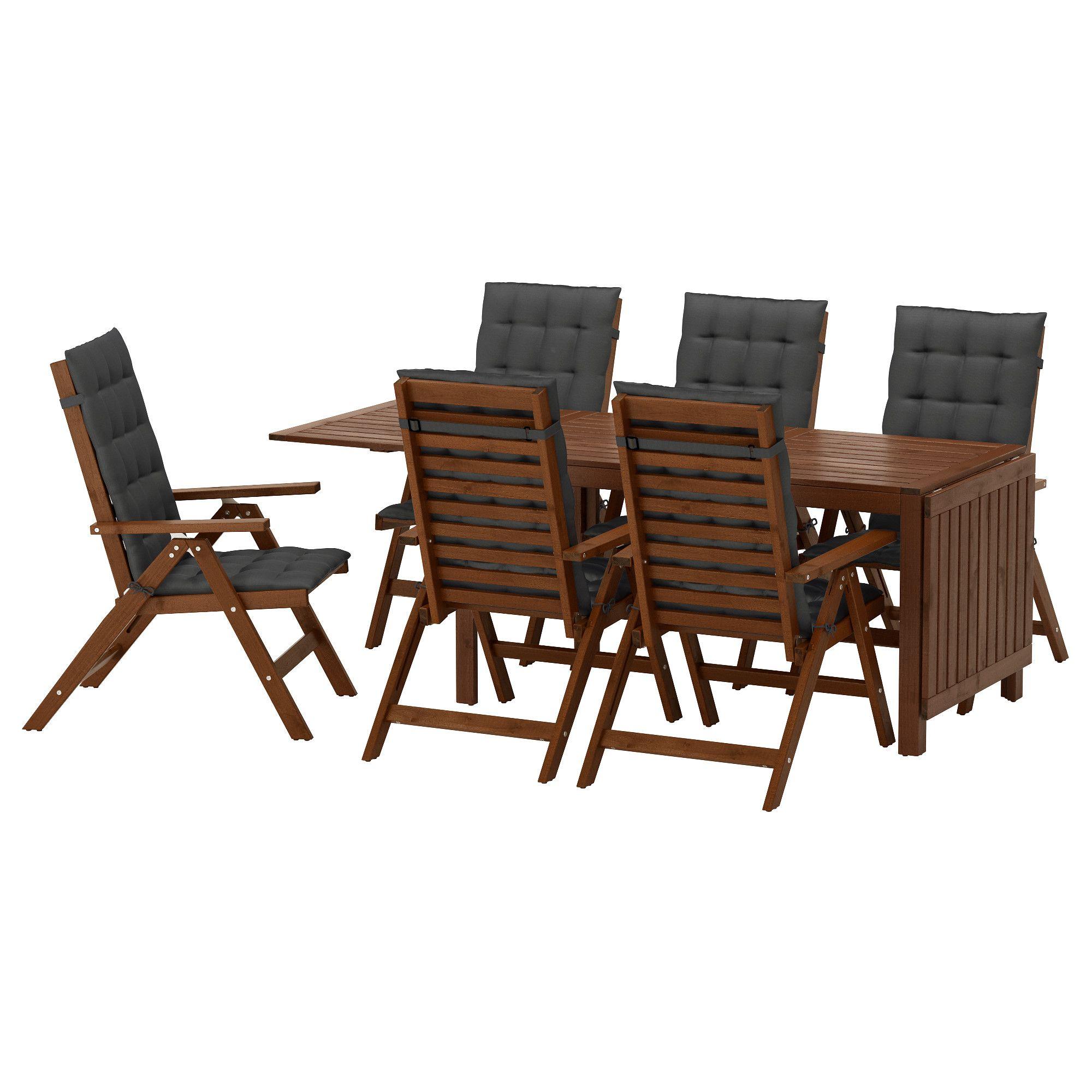 ÄPPLARÖ, Tisch+6 Hochlehner/außen, braun las., schwarz Jetzt ...