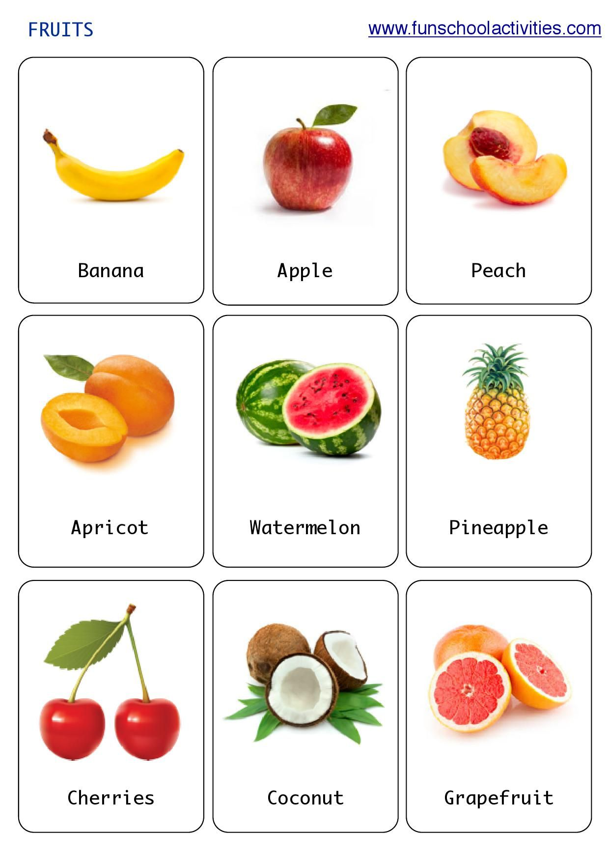 Printable Fruits Flashcards