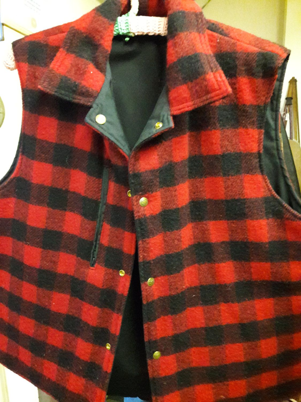 Men's Vintage Remington Wool Button Down Vintage Shirt - Navy & Green Plaid - Size - XL VyJhTyW