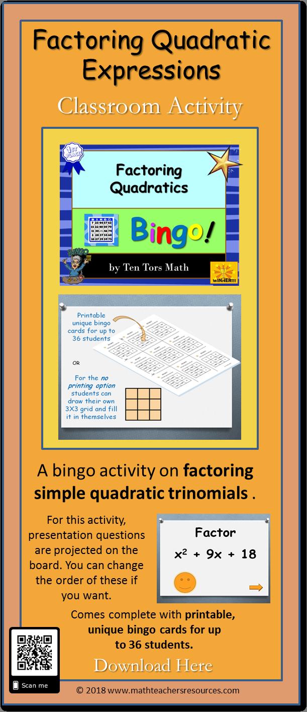 A Classroom Game Where Students Factor Simple Quadratic Trinomials Students Have The Bingo Questions On Factoring Quadrat Quadratics High School Fun Tpt Math [ 1415 x 611 Pixel ]