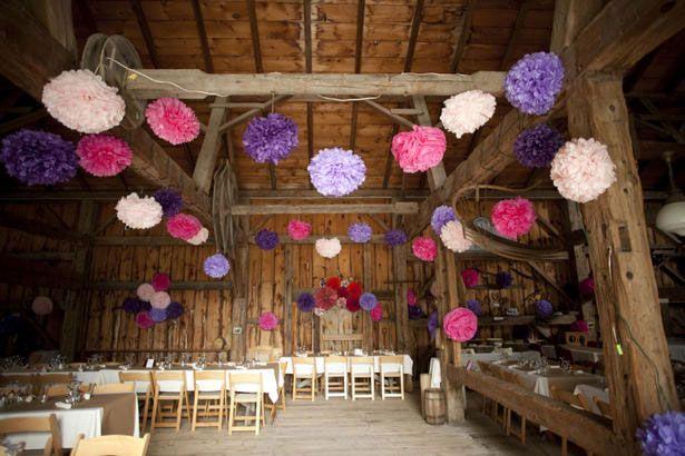 pompon pour deco de mariage mariage original bapteme pinterest pompons papier de soie. Black Bedroom Furniture Sets. Home Design Ideas