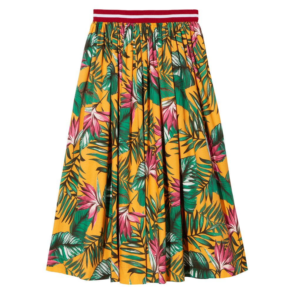 Made of crisp, airy cotton with a vibrant tropical print, this midi skirt hits the sweet spot between dressed-up and casual (especially with the brilliant...