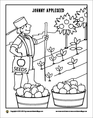 Johnny Appleseed Coloring Page Johnny Appleseed Activities Johnny Appleseed Craft Preschool Apple Theme