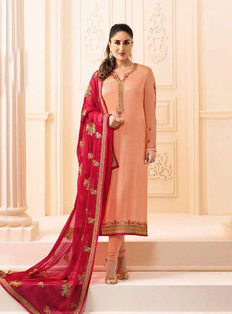 Kareena Kapoor Peach Georgette Churidar Salwar Suit 107871 ...
