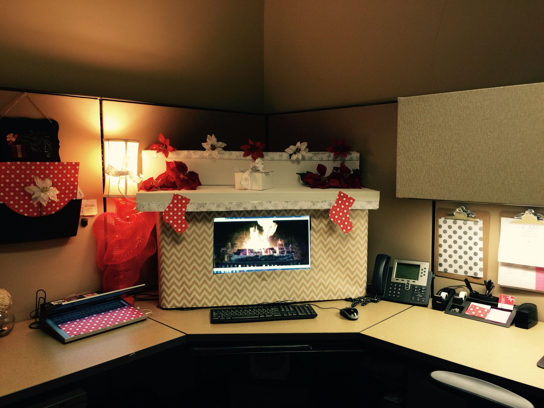 images office cubicle christmas decoration. My Christmas Ready Office Cubicle Decor! I Used Boxes And Gift Wrap Cut Out Around The Monitor With A Fireplace Background. Images Decoration