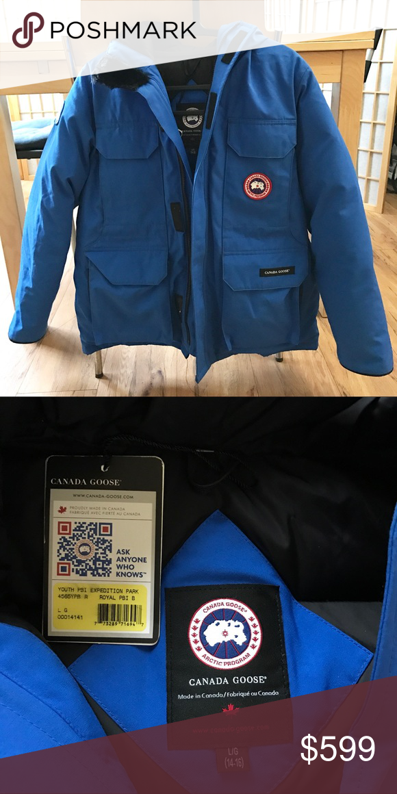 Canada Goose Royal PBI Expedition Parka Canada Goose Royal PBI Expedition Parka - Blue, Youth Large (14-16, fits an adult who wear Small/Medium), ...