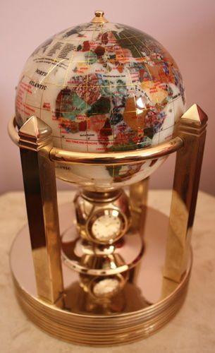 Euc mother of pearl gemstone world globe with rotating clock and euc mother of pearl gemstone world globe with rotating clock and thermometer gumiabroncs Image collections