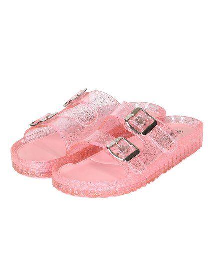 18719b0b4ba2 Nature Breeze Women CD39 Jelly Glitter Double Buckle Footbed Slip On Sandal