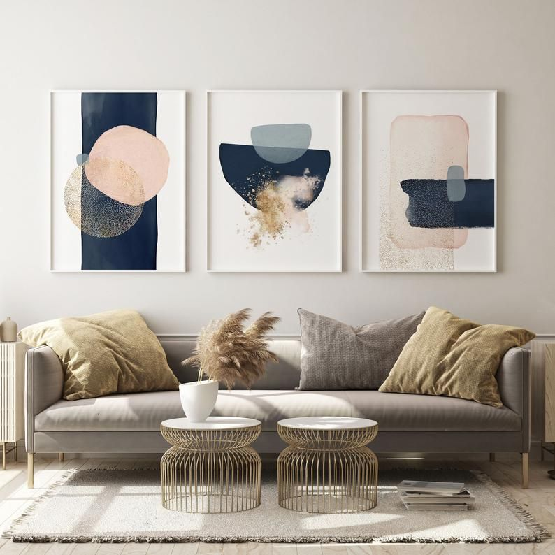 Abstract Blue bedroom wall art for above bed decor, Modern Apartment Set of 3 Prints, Watercolour wi