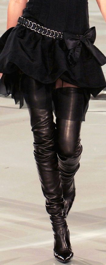 Chanel Black Thigh High Boots ♥