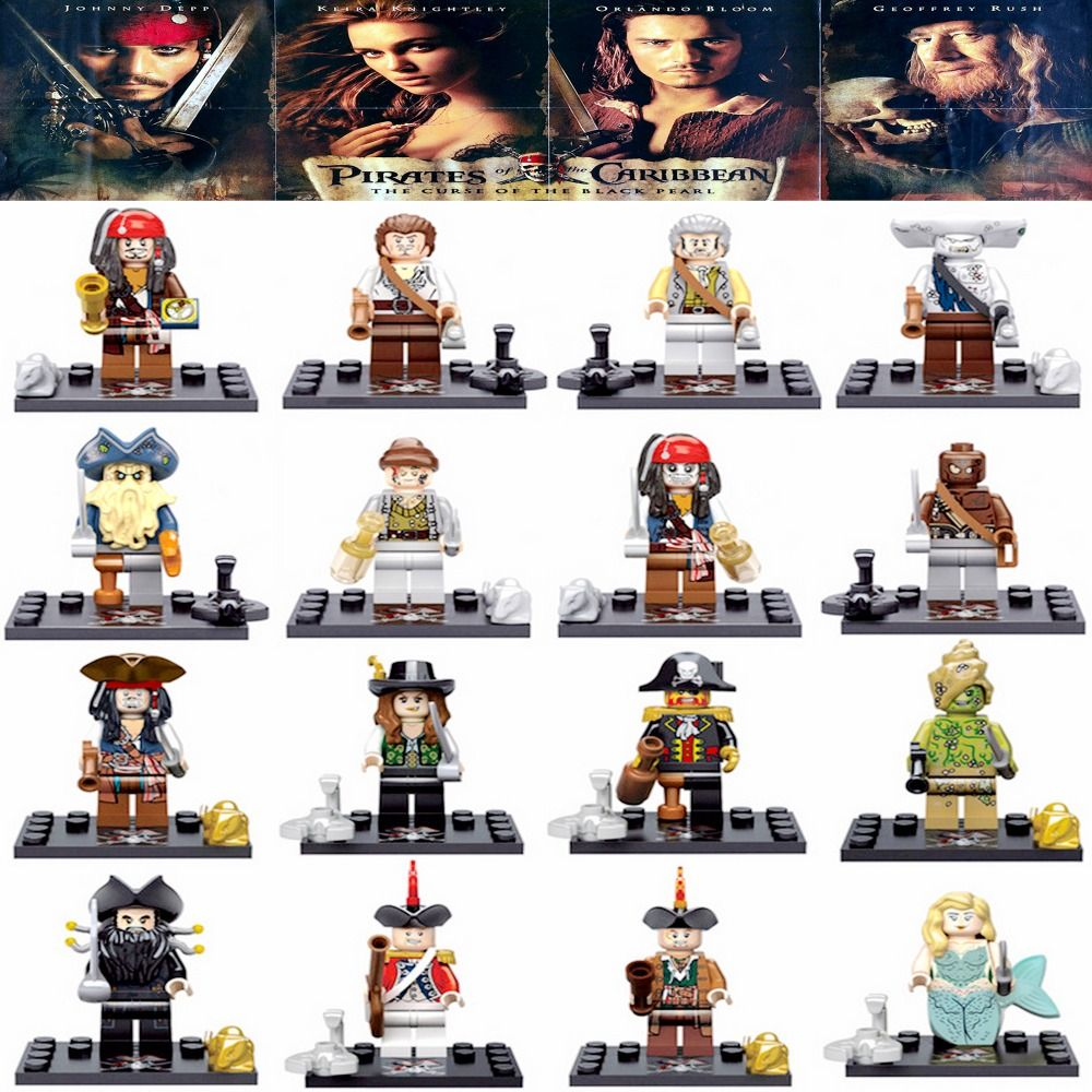 Pirates of The Caribbean Jack Sparrow Elizabeth Mermaid David building blocks