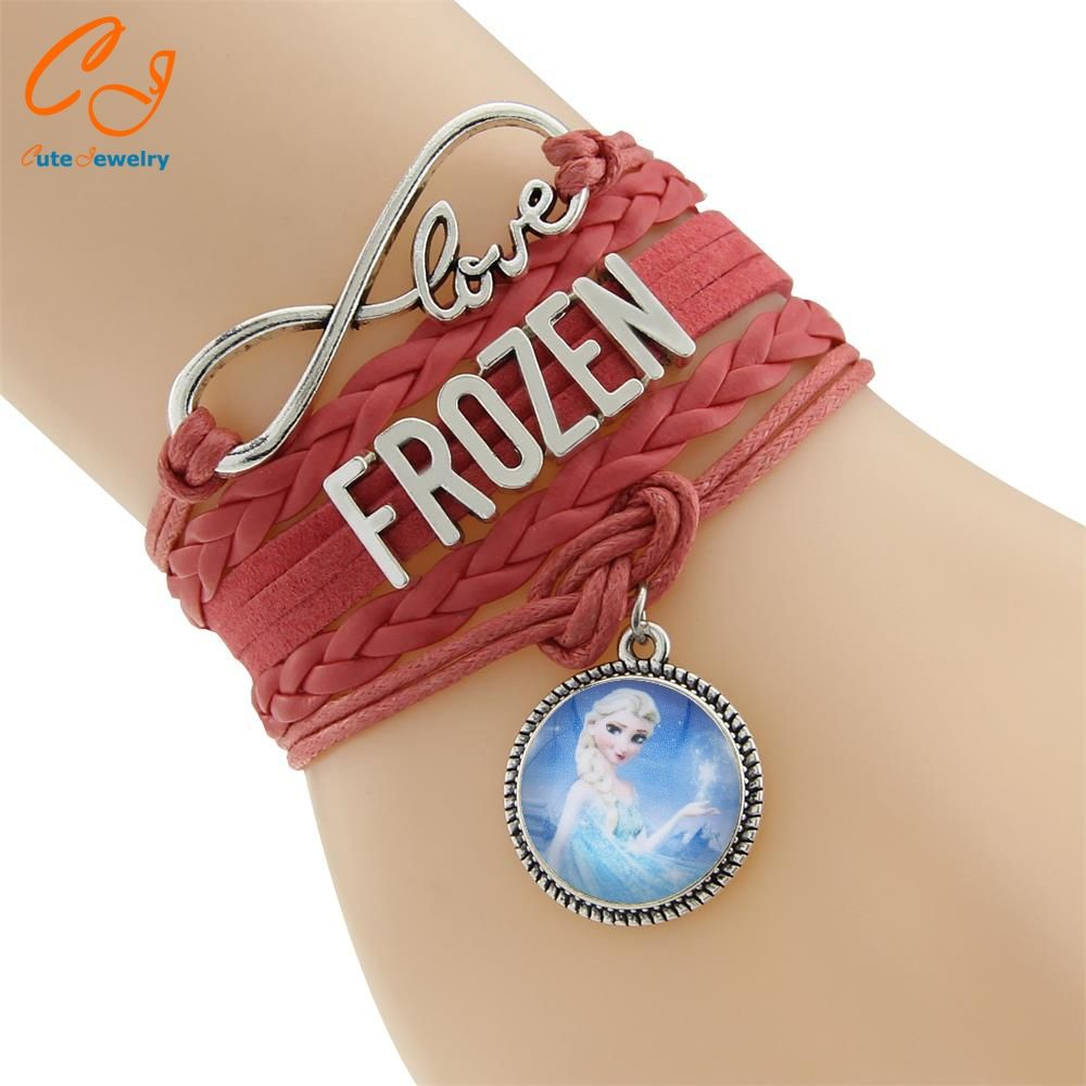 Infinity love leather bracelet child girl princess charm bracelet