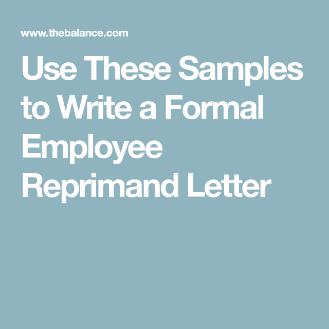 Use These Samples To Write A Formal Employee Reprimand Letter  Formal