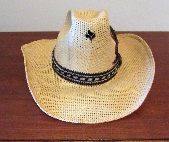 6a348d006d129 Vintage Miller Brothers Straw Cowboy Hat with Feathered Headband-7 ...