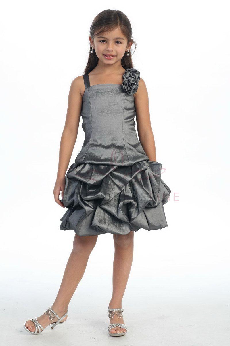 eb41ca73760 Dark Gray Pick up Bubble Hem Flower Girl Dress with Rose G3020G  49.95 on  www.GirlsDressLine.Com