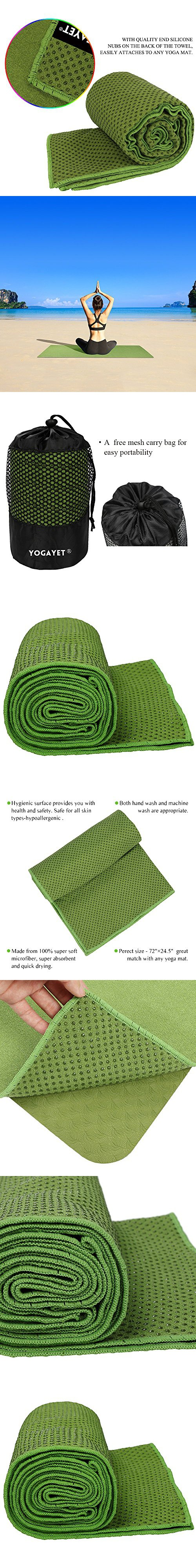 "YOGAYET Skidless Hot Yoga Towel Ultra Absorbent Microfiber Non Slip Mat Towels Premium Mat-Size 72""×24.5"" Grip Design Machine Washable(Green)"