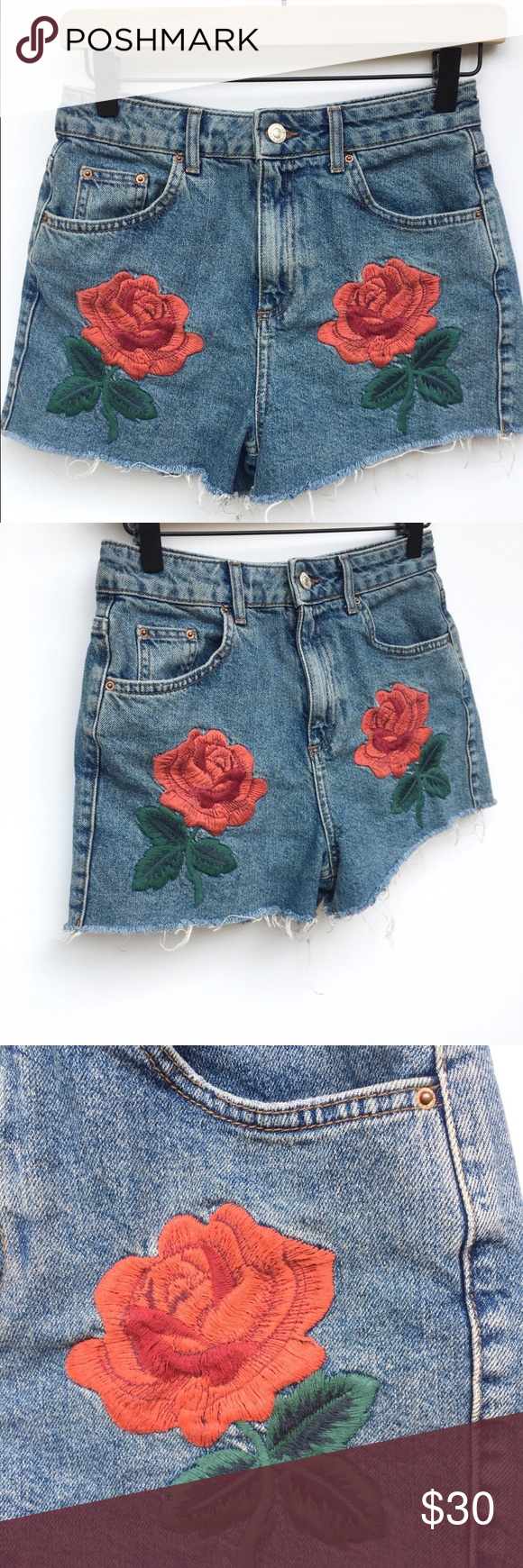 edf014e50e Topshop Moto Rose Embroidered Mom Denim Shorts Topshop Moto Rose Embroidered  Mom Denim Shorts Colors: Blue, Green, Red Condition: EUC Feature: Five  Pockets ...