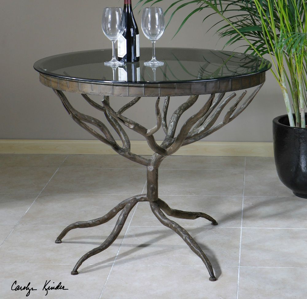 Round hand forged metal twigs tree root look dining for Tree root dining table