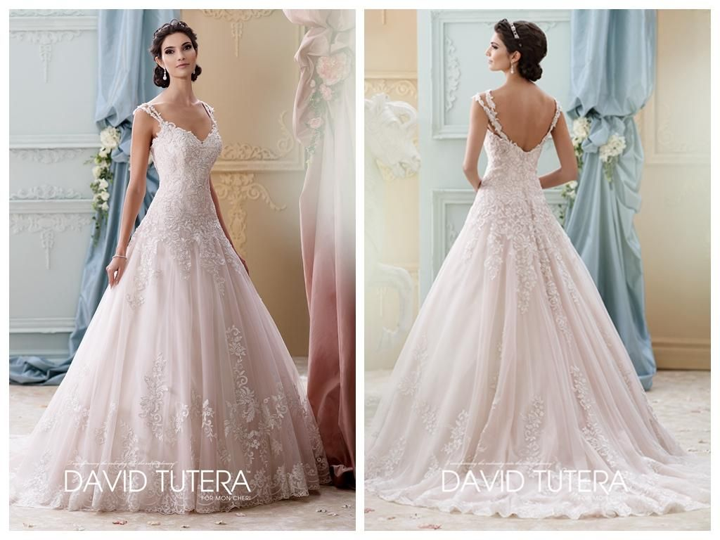 2016 Lace Wedding Dresses A Line Ivory Tulle Dress Straps V Neck Backless Lique Court Train Gowns Sleeveless